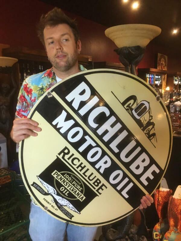 richfield gas tire beer motor gasoline oil dealer porcelain sign MAKE AN OFFER!2