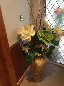 Large 28 inches high vase with artificial flowers