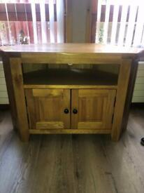 Solid pine tv unit with matching coffee table and lamp table