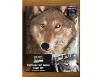 BRAND NEW ANIMAL WILD COLLECTION - PHOTOGRAPHIC ANIMAL KING SIZE DUVET SET - WOLF