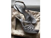 Size 6, brand new, Silver/Grey wedding shoes encrusted with Swarovski crystals