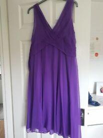 Ladies Violet Purple LK Bennett Chiffon Dress Size UK 16 Also Matching Fascinator