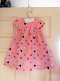 mothercare pink spot dress with bolero size 9 - 12 months