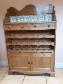 Pine Wine Rack/Dresser with Green & Cream Ceramic Tiles