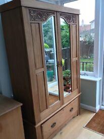 Victorian Satin Walnut Wardrobe & Chest of Drawers