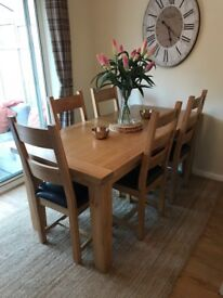 6-8 Seated Solid Oak Wooden Extendable Dining Table