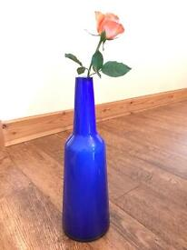 Large Blue Decorative Glass Bottle/Vase