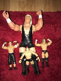 WWE WRESTLING FIGURES RARE 1999 BROCK LESNAR / TRIPPLE H / JOHN CENA AND SID VICIOUS 13 INCH FIGURE