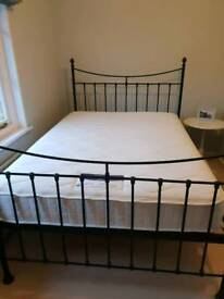 Feather and Black black iron double bed