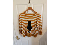 TU (SAINSBURYS) Size 12 Mustard yellow and white striped cat jumper