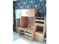 TV Storage unit with display cabinet.
