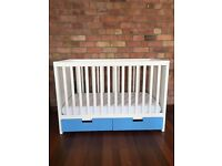 STUVA cot with blue drawers and incl. mattress