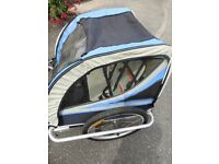 Nearly new Kiddie Trailer, alloy towing, suitable for one or two children, each has 5 point harness