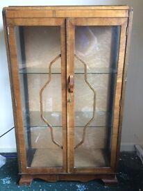 Art Deco Attractive Display Cabinet Wood Veneer and Glass