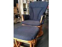 Dutailier blue Glider nursery chair with foot stool