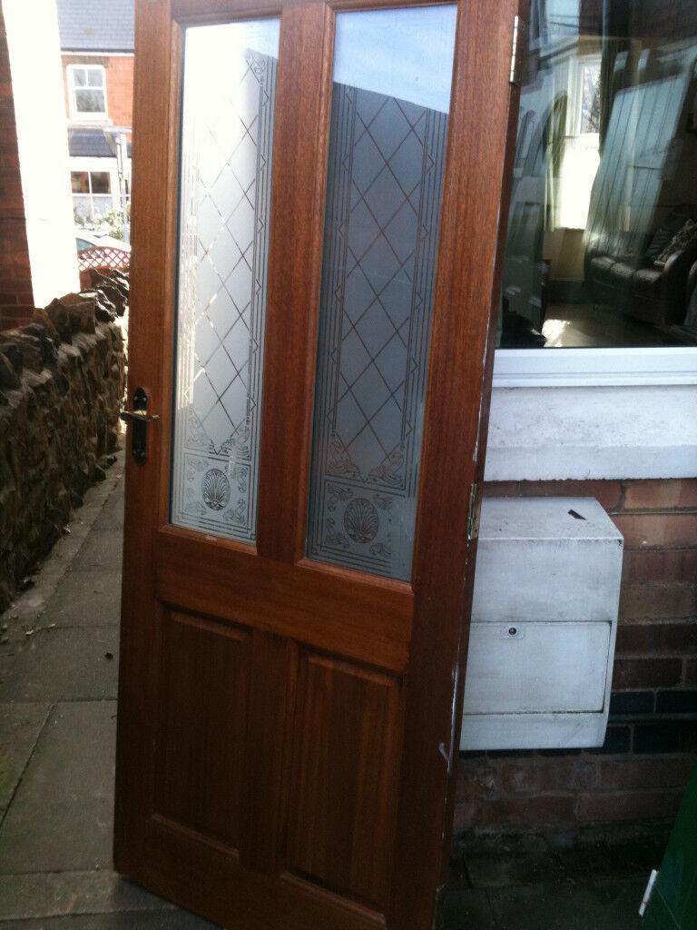 Exterior Hardwood Door With 2 Patterned Glass Panels In Malvern