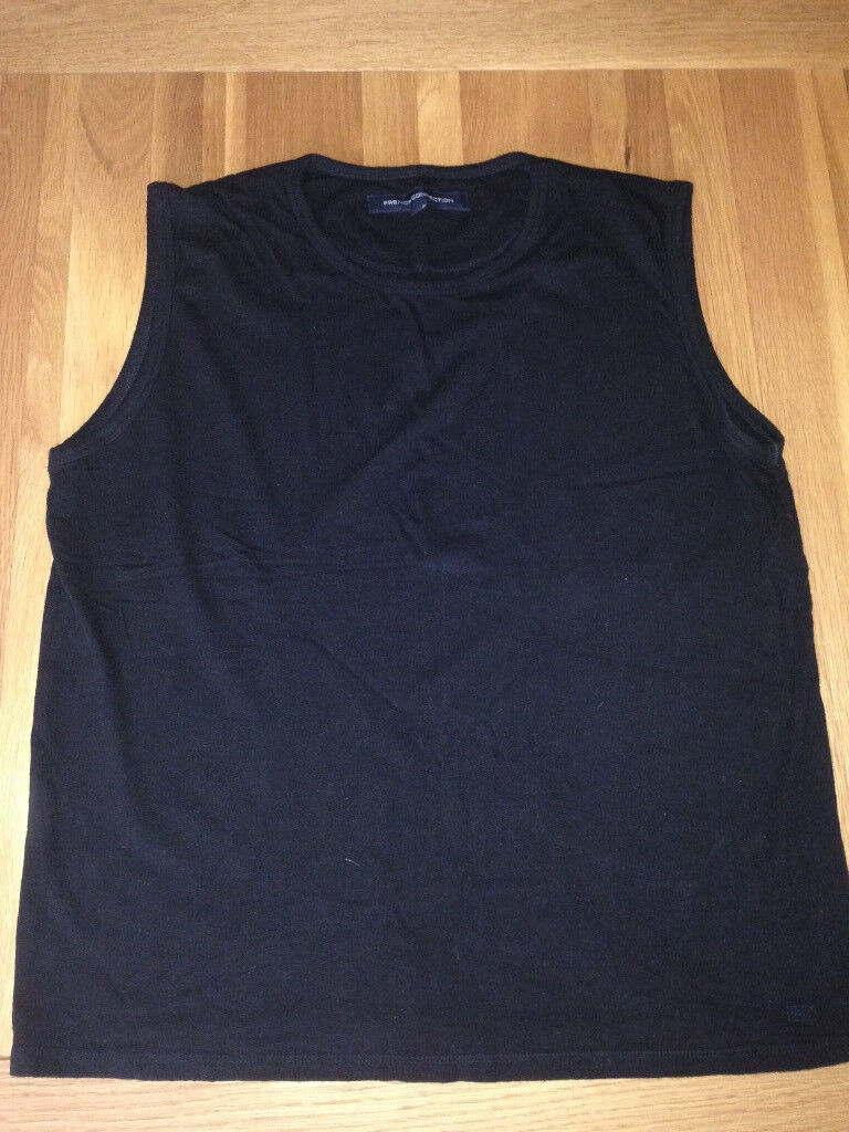 French Connection Men's Black Sleeveless T-Shirt (slightly fitted