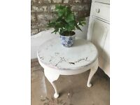 Coffee Side Table Vintage in Antique White with Copper Showing through