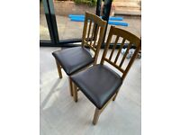 Pair of Solid Oak Slatted Chairs £40 (RRP £100)