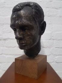 Mary Ford, a patinated plaster bust of a gentleman on pine base (DELIVERY AVAILABLE)