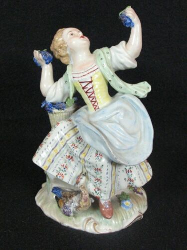 "Antique Meissen Style 6"" Figurine of Girl Holding Grapes and Goose"
