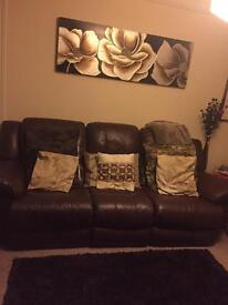 Chocolate brown real leather reclining sofa