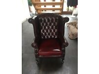 Vintage chesterfield leather Queen Anne chair ( Thomas Lloyd)