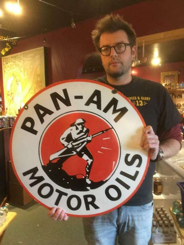 pan am tire motor gasoline oil dealer porcelain sign  sign MAKE AN OFFER! 8