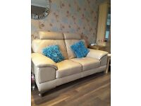Quality Leather 2 Seater Settee with Cuddle Chair and Footstool to match