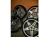 18 inch Mercedes AMG alloys with 8mm NEW tyres 5X112 C E S CLK CLC CLS SLK ETC
