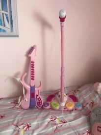 Kids guitar and microphone