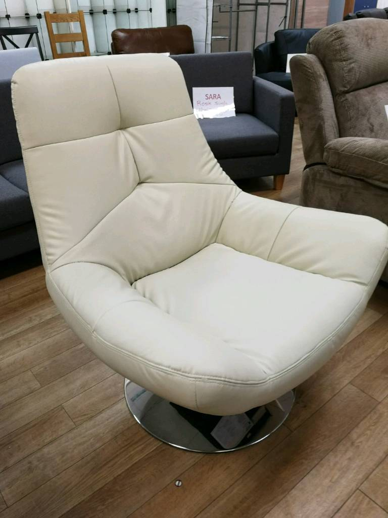 Cream leather swivel chair (slight damage) see pics   in Hamilton ...