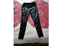 Boohoo maternity leather look over bump leggings