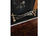 Antique brass companion set