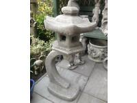 Large stone garden Chinese pagoda, lantern, lovely Detail. New
