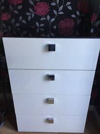 Black and white gloss chest of drawers