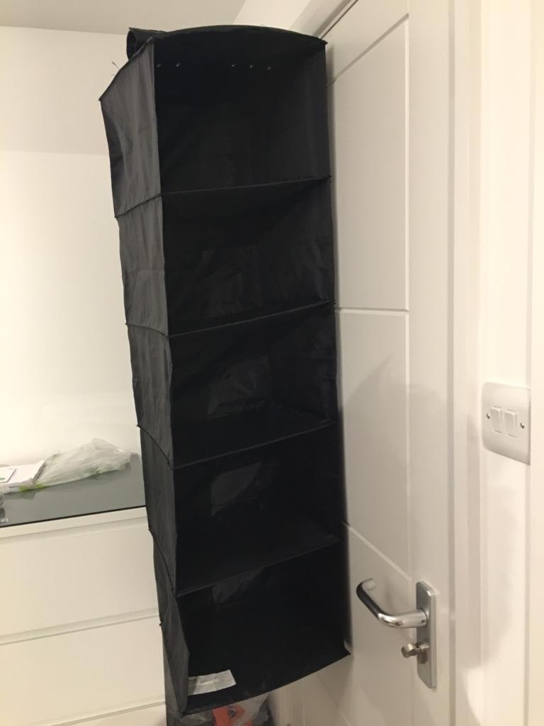 Foldable shelves to hang in wardrobe