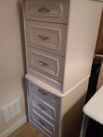 2 x white bedside tables with drawers