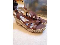 Size 4 Brown Wedges with ankle strap
