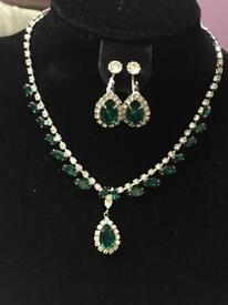 Brand new beautiful green an white crystals set