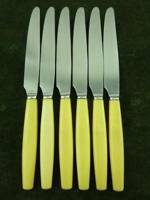 6 Vintage George Butler Dessert Side Knives ivory coloured resin handle