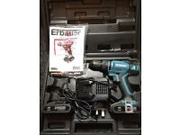 Erbauer drill ER1603COM charger and 2 lithium ion batteries.