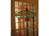 Genuine Art Deco Stained Glass Door circa 1930. White painted wooden frame. Glass perfect.