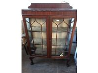 Bow-front Victorian style display cabinet hardwood