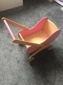 Wooden toy pram