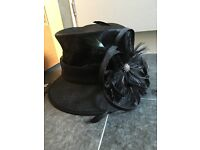 Ladies M&S Black Mesh Hat with beautiful feather bejewelled flower, BNWT