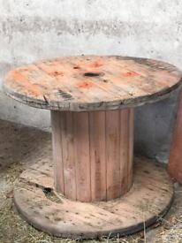 WOODEN CABLE REEL garden table