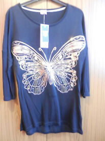 New F & F Girl's Butterfly Sequin Top