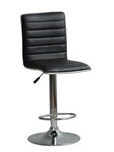 Hydraulic Stool: Black Faux Leather + Stainless Steel