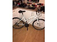 """LADIES MOUNTAIN BIKE, 15 LEVER PRESS GEARS, 26"""" WHEELS WITH FRONT AND REAR MUDGUARDS, 18"""" FRAME,"""
